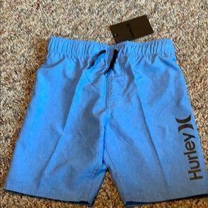 New Hurley Boys Blue Heathered  Swim Trunks 5